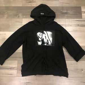 fenty, black graphic lace up hoodie